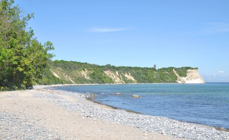 kap: Beach and View to Kap Arkona on Ruegen Island at Baltic Sea,Germany Stock Photo