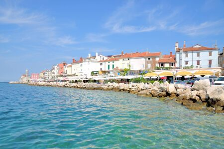 promenade: Promenade of Piran at adriatic Sea,Slovenia