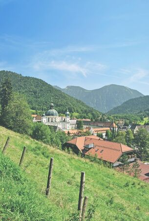 ettal: Village of Ettal with Ettal Monastery near Oberammergau in upper Bavaria,Germany Stock Photo