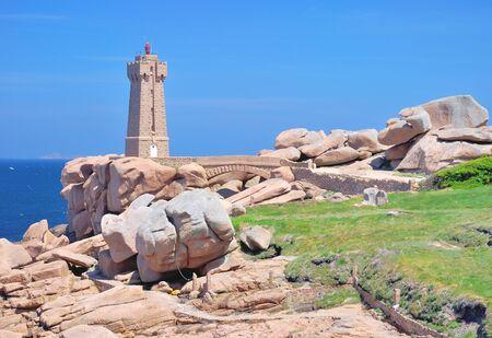 cote de granit rose: Lighthouse named Men Ruz in Ploumanach at Cote de Granite Rose,Brittany,France