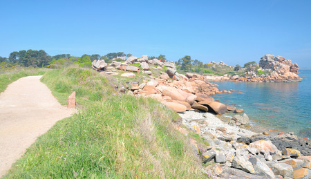 cote de granit rose: at Hiking Trail Sentier des Douaniers in Brittany,France