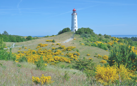 mecklenburg western pomerania: the famous Lighthouse on Hiddensee Island at Dornbusch Hill,Baltic Sea,Germany
