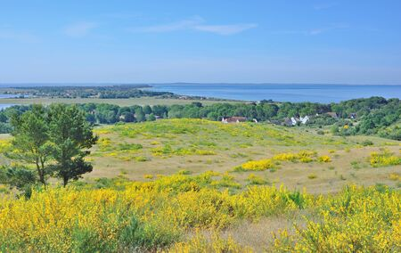 mecklenburg: View to Village of Kloster on Hiddensee Island at baltic Sea,Mecklenburg western Pomerania,Germany Stock Photo
