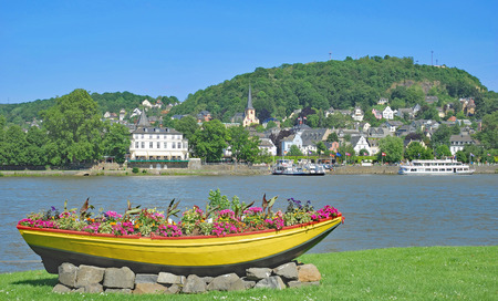 View to Village of Linz am Rhein at Rhine River in Rhineland-Palatinate,Germany Stock Photo