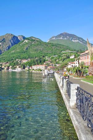 Promenade of Menaggio at Lake Como in Lombardy,italian Lakes,Italy Stock Photo