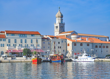 Harbor of Krk Town on Krk Island at adriatic Sea,Kvarner,Croatia Stock Photo