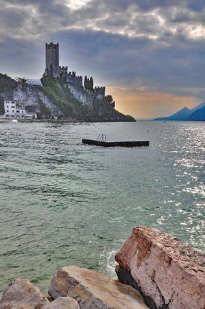 lake district: Evening in Malcesine at Lake Garda,italian Lake District,Italy