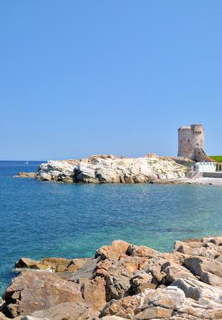 elba: historic Watchtower of Marciana Marina on Elba Island,Tuscany,Italy Stock Photo