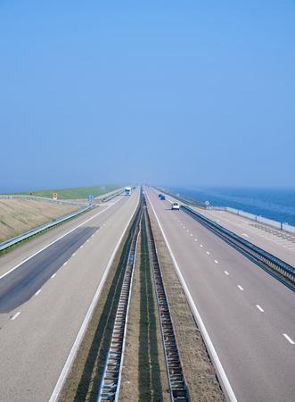 lelystad: Dyke at Ijsselmeer called Houtripdijk,Netherlands,Benelux Stock Photo
