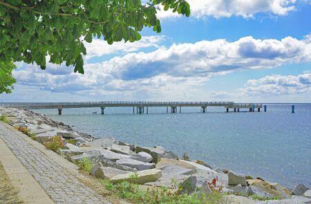 mecklenburg western pomerania: Pier of Sassnitz on Ruegen Island at Baltic Sea,Mecklenburg western Pomerania,Germany Stock Photo