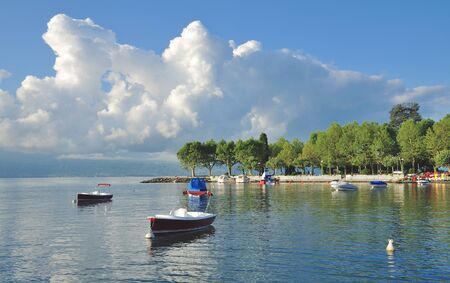 Promenade of Lausanne at Lake Geneva in Vaud Canton,Switzerland Stock Photo