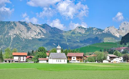 tal: Village of Tannheim in Tannheimer Tal,Tirol,Alps,Austria Stock Photo