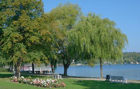 mecklenburg western pomerania: Promenade of Krakow am See in Mecklenburg Lake District,Germany Stock Photo