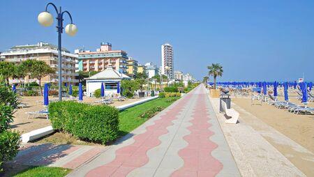 lido: Beach and Promenade of Lido di Jesolo at adriatic Sea,venetian Riviera,Italy