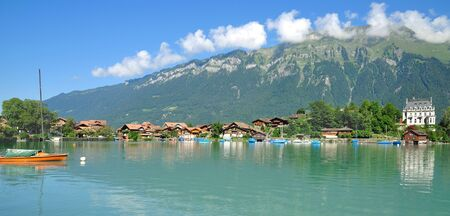 bernese oberland: Village of Iseltwald at Lake Brienz in Bernese Oberland,Switzerland