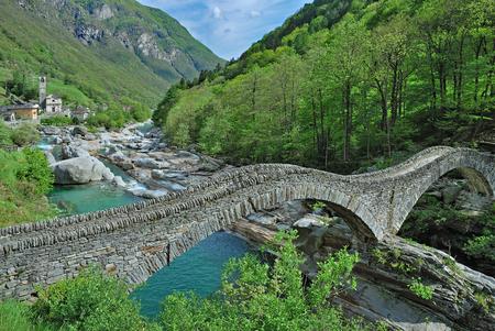 famous Ponte dei Salti Bridge in Lavertezzo,Valle Verzasca,Ticino Canton,Switzerland