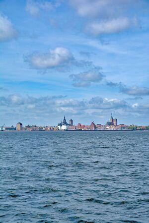 mecklenburg western pomerania: View over Strelasund to Stralsund at baltic Sea,Mecklenburg-Vorpommern,Germany