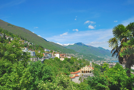 Locarno and Madonna del Sasso Church at Lake Maggiore,Ticino Canton,Switzerland