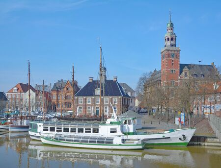 Harbor and Twon Hall of Leer in East Frisia,North Sea,lower Saxony,Germany Stock Photo