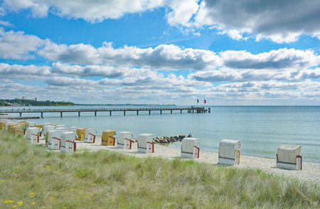 Beach and Pier of Haffkrug near Scharbeutz and Timmendorfer Strand,baltic Sea,Germany