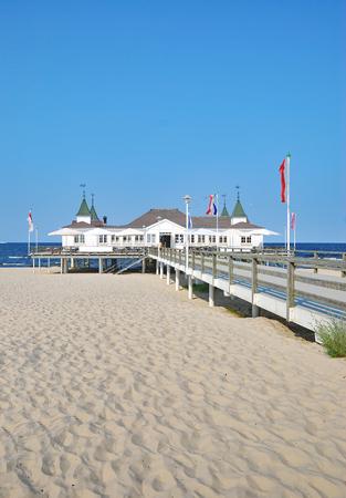mecklenburg western pomerania: Beach and Sea Bridge of Ahlbeck at baltic Sea on Usedom,Mecklenburg western Pomerania,Germany Stock Photo