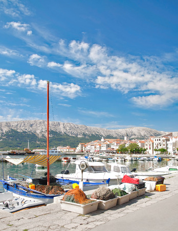 Village of Baska on Krk at adriatic Sea,Kvarner Gulf,Croatia Stock Photo
