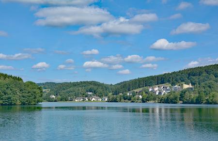 Listertalsperre Reservoir in Sauerland,North Rhine Westphalia,Germany Banco de Imagens