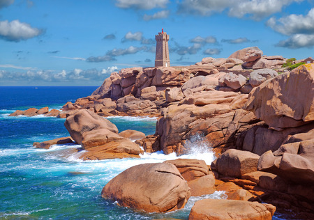 Lighthouse called Phare de Mean Ruz in Ploumanach,Channel,Brittany,France