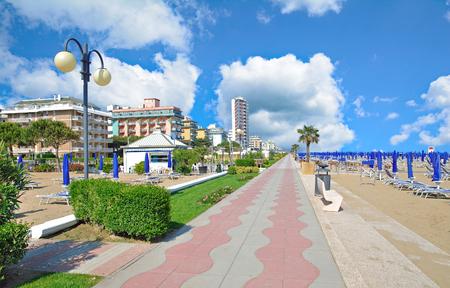 Promenade and Beach of Lido di Jesolo at adriatic Sea,Veneto,Italy