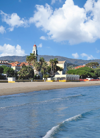 Beach and Village of Diano Marina at italian Riviera,Liguria,Italy