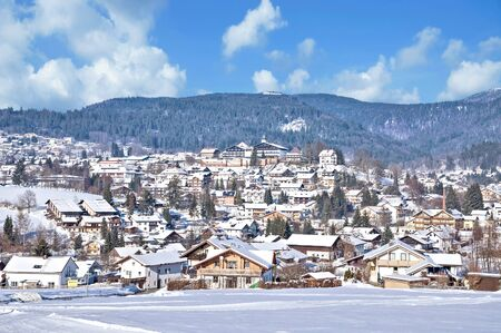 Winter in Village of Bodenmais in bavarian Forest,lower Bavaria,Germany 스톡 콘텐츠