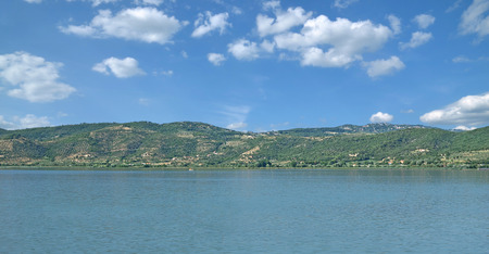 panoramic View of Lake Trasimeno,Umbria,Italy Stock Photo