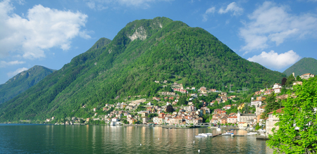 panoramic view of Colonno at Lake Como,Lombardy,Italy