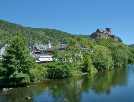 Village of Heimbach in Eifel at Rur River,North Rhine westphalia,Germany Stock Photo