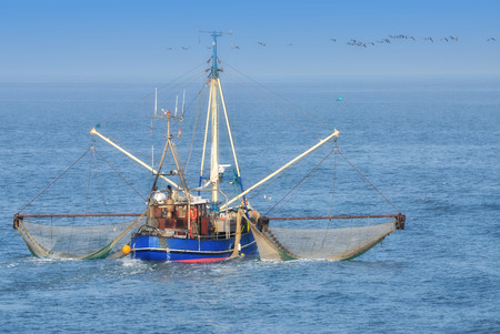 Shrimp Boat while Fishing at North Sea,Germany