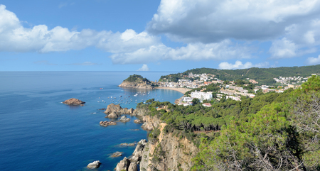 popular Village of Tossa de Mar at Costa Brava,Catalonia,mediterranean Sea,Spain
