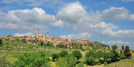 medieval Village of San Gimignano in Tuscany,Italy Stockfoto - 111488404