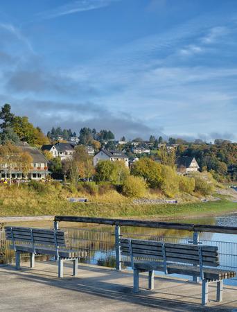 Village of Rurberg at Rursee Reservoir in Eifel National Park,Germany