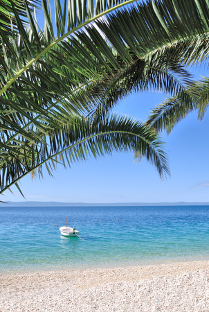 idyllic Beach at Makarska Riviera at adriatic Sea,Dalmatia region,Croatia