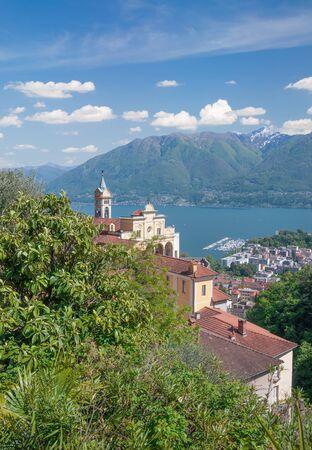 famous Madonna del Sasso Church in Locarno at Lake Maggiore,Ticino Canton,Switzerland