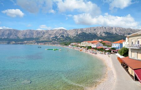 Beach and Promenade in Village of Baska on Krk Island at adriatic Sea,Croatia
