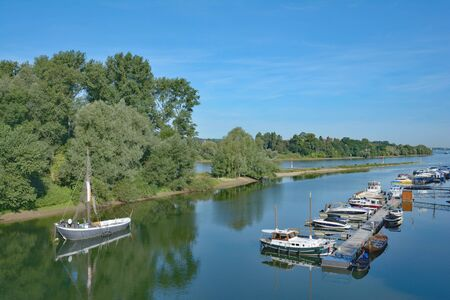 Grafenwert Island at Rhine River with traditional Aalschokker Fishing boat,Bad Honnef,Germany
