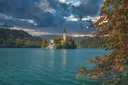 Island with Church of the Assumption at Lake Bled,Slovenia