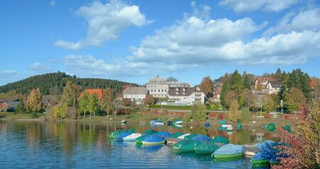 Village and Lake Schluchsee in Black Forest,Baden-Wuerttemberg,Germany