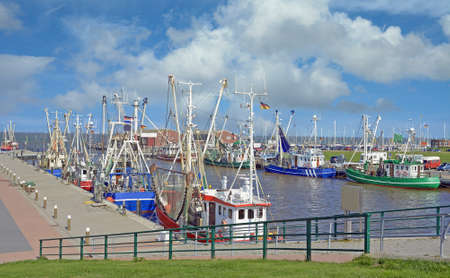 Harbor of Accumersiel with Shrimp Boata,North Sea,East Frisia,Germany