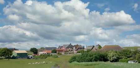 Village of Norderhafen on Nordstrand,North Sea,North frisia,Schleswig-Holstein,Germany