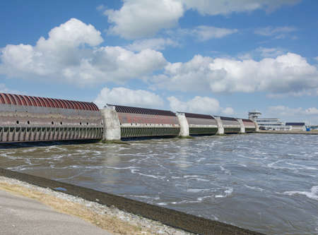 Eidersperrwerk Flood Barrier at Eider River,North Sea,North Frisia,Germany