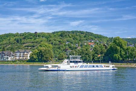 Ferry at Linz am Rhein,Rhine River,Germany Standard-Bild