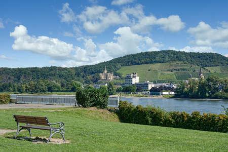 view to Village of Bad Hoenningen,Rhine River,Germany Standard-Bild