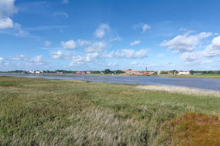 view over Eidr River to Village of Toenning,Eiderstedt Peninsula,North Sea,North Frisia,Germany